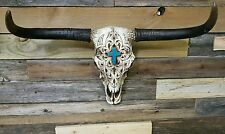 "Western cow skull with turquoise cross n engraving 21"" × 13"" home decor"