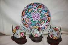 Vintage Oriental Design 1 Large 3 small Plates with  Flowers