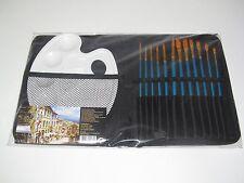 Lot Set x12 Pinceaux + Palette + Pochette de Rangement Noir Travaux Peinture