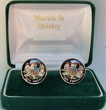 NEW UK £1 Cufflinks made from real coins in Black & Gold & colours