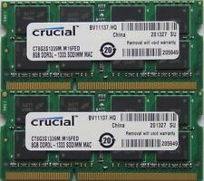 Crucial ram 16GB kit DDR3 PC3-10600, 1333MHz for latest 2011 Apple Macbook Pro's