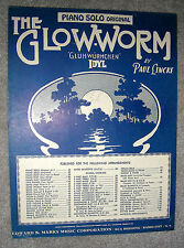 1930 THE GLOW-WORM Sheet Music PIANO SOLO by Paul Lincke