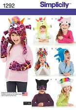 Simplicity Pattern 1292 CHILD'S HAT AND MITTENS IN THREE SIZES animal novelty