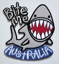 Cute Pretty Shark Bite Me Australia Embroidered Iron on Patch Free Free Shipping