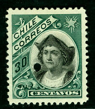 CHILE 1904  COLUMBUS 30c green - early A.B.N.Co. print  SPECIMEN w/ PUNCHED HOLE