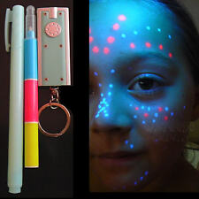 INVISIBLE INK Pens 6 +3UV Black Lights Security Body Art Temporary Tattoo Marker