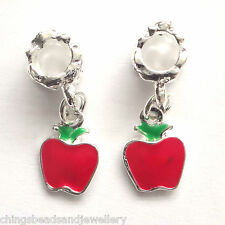 4 Enamel Hanging Charms Apple 8x22mm Hole 5mm European Charm Bracelet