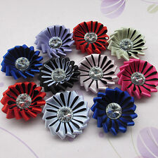 16pcs Satin Ribbon Flowers With Stone Wedding Sewing Appliques Crafts Mix