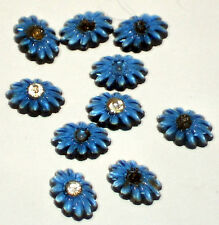 #1123 Antique Cabochons 7x10mm Tiny Rhinestone Montana Blue Oval Pressed Ribbed