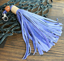 "6.5"" HANDMADE MURKA LILAC GENUINE LEATHER SUEDE TASSEL KEY BAG CHARM FOB CLASP"