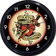 "OLD SCHOOL TATTOO CLOCK MILITARY ""DEATH BEFORE DISHONOR"" MAN CAVE TAT PARLOR 10"""