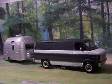 1977 CHEVY G-20 VAN + AIRSTREAM CAMPER 1/64 SCALE COLLECTIBLE MODELS - DIORAMA