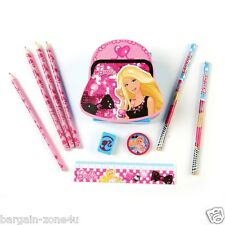 Barbie Filled Desk Tidy Kids Girls Stationery Pencils Ruler Sharpener & Eraser