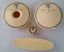 VINTAGE ART DECO DUBARRY FRENCH IVORY / CELLULOID / RYRALIN JARS & CLOTHES BRUSH
