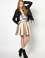 Eleven Paris Gold Timac Full Skirt in Metallic Faux Leather - 38 (UK10) RRP£149