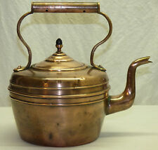 Antique English Copper Kettle Teapot w/ Gooseneck Spout & Acorn Finial Knob