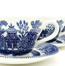 Vintage Churchill Willow Pattern Blue White Tea Set 4 Cups Saucers