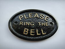 PLEASE RING THE BELL - HOUSE DOOR PLAQUE SIGN GARDEN - BRAND NEW (BLACK)