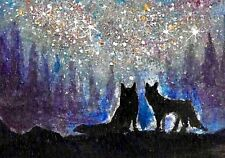 ACEO Original Art watercolor/Gouche, Milky Way, Foxes, Trees silhouettes, Stars