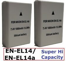2 Pcs Hi Capacity EN-EL14a Li-Ion Battery for Nikon Coolpix P7800 P7700