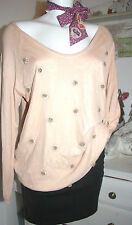 By timo ti Mo tricot-pull manches longues Cashmere roses melon size: M NEUF