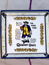 BOXED STAFF CERAMIC TILE ADVERTISING QUAKER OATS SET INTO CHROME TABLE STAND
