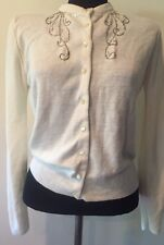 Gorgeous VTG 1950s Embellished sequin Beaded Cardigan Sweater M Pinup Bombshell