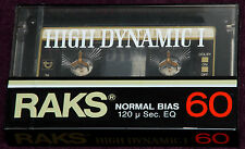 RAKS 60 HIGH DYNAMIC SEALED BLANK AUDIO ANALOG CASSETTE TAPE WITH HEAD CLEANER