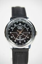 Russian mechanical watch RAKETA PILOT. 24H Black dial. 34 mm