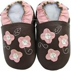 shoeszoo 3 pink flowers brown 12-18m S new soft sole leather baby shoes