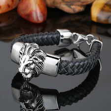 Black Genuine Leather Stainless Steel Biker lion Bracelet Men gothic Jewelry