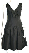 OSCAR DE LA RENTA NWT Black Silk Faille Bow Detail Party Dress 4
