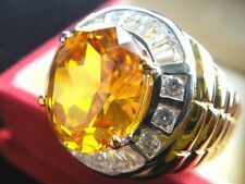 # 15 Men's GOLD 24K RING YELLOW Sapphire Elegant STUNNING CZ Jewelry Solitaire