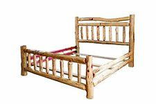 Rustic Red Cedar Log Bed- KING SIZE - Wagon Wheel Style Complete Bed Frame
