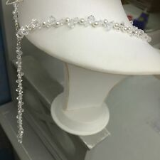 BACKDROP BRIDAL NECKLACE BACK DROP PEARL AND SWAROVSKI ELEMENTS DESIGNER JEWELRY