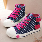 Fashion Kids Toddlers Girls Bow-knot Polka Stars Lace Up High Top Sneaker Shoes