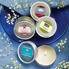 30 Personalized Scented Round Travel Candles Birthday Baby Party Wedding Favors