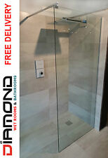 Diamond 1400mm Walk In Shower Screen Wet Room Glass Panel Enclosure