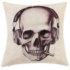 Cool Headset Skull Throw Pillow Case Cushion Cover Halloween Theme Linen Cotton