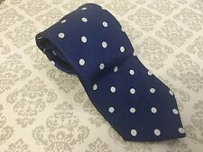 TM LEWIN SILK TIE - SOLID BLUE WHITE SPOTTED DESIGN - FREE UK P&P