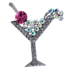 Pink Cherry Martini Glass Cocktail Party Brooch Pin Women Fashion Jewelry p8pnk
