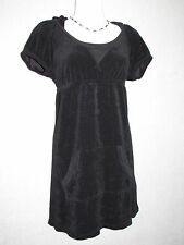 JUICY COUTURE Black Terry Cloth Cap Sleeve Hooded Dress SZ S