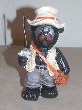 """NEW ADORABLE BLACK BEAR FISHING STATUE FIGURE DECORATION WILDLIFE COLLECTIBLE 5"""""""