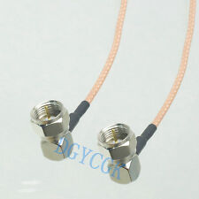 """Cable F male plug to F TV male right angle RG316 Jumper pigtail 20"""" for DVD HDTV"""
