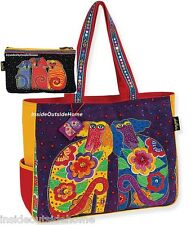 Laurel Burch Dog Flowering Canine Oversized Tote Travel Beach Sport w Makeup Bag