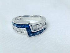 white gold ring with diamonds and sapphire for men