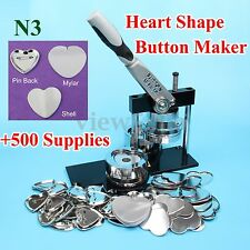 Heart Shape N3 Badge Button Maker Machine+Circle Cutter+500 Sets Metal Pinback