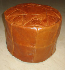 CAMEL  BROWN GENUINE LEATHER MOROCCAN POUF POUFFE HANDMADE OTTOMAN FOOTSTOOL
