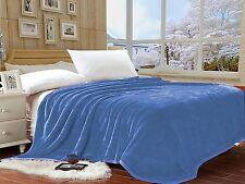 "Lina Queen Light Blue Solid Reversible Soft Mink Blanket - Size (78"" x 90"" Inch)"