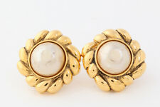 Authentic CHANEL Faux Pearl Gold-tone Clip-On Earring France #3860